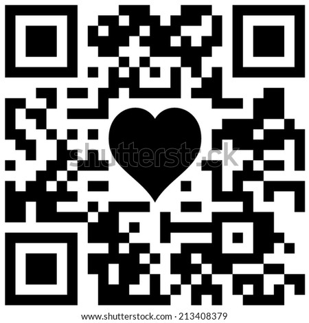 Classic Qr Code Heart Text Sample Stock Vector Royalty Free