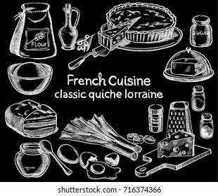 Classic quiche Lorraine, ingredients of the food