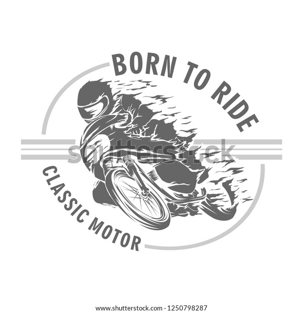 classic race motorcycle vector, logo classic motorcycle
