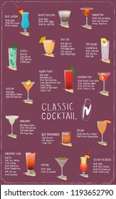 Classic recipes for cocktails. A set of vector illustrations of various cocktails on a lilac background. Isolated