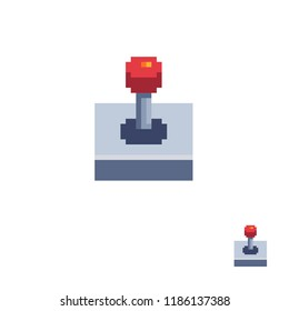 Classic red arcade game joystick icon. Pixel art. Flat style. Old school computer graphic design. 8-bit sprite. Retro 80s game assets. Isolated vector illustration.