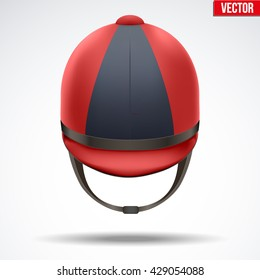 Classic Red and Black Jockey helmet for horse riding athlete. Front view of Sport equipment. Vector Illustration isolated on a white background.