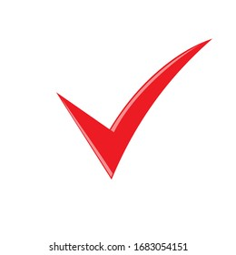 Classic red checkmark isolated on white background.