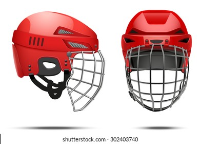 Classic Red Goalkeeper Hockey Helmet with metal protect  visor. Front and side view. Sports Vector illustration isolated on white background.