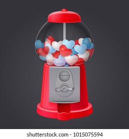 classic red gumball vending machine filled with red blue and white bubble gum hearts on dark background. 3d realistic vector illustration with transparent glass