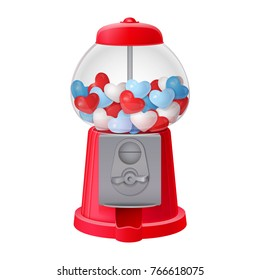 classic red gumball vending machine filled with red blue and white bubble gum hearts isolated on white background. 3d realistic vector illustration with transparent glass
