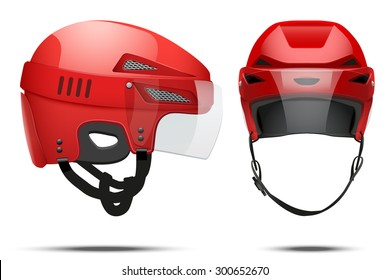 Classic red Hockey Helmet with glass visor. Front and side view. Sports Vector illustration isolated on white background.