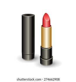 Classic red lipstick. Isolated elements on white background. Realistic fashion illustration for your design. Vector