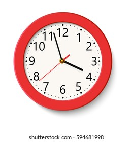 Classic red round wall clock isolated on white . Vector illustration