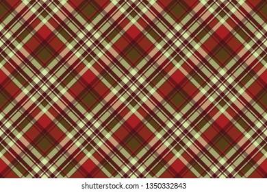 Classic red tartan diagonal seamless fabric texture. Vector illustration.
