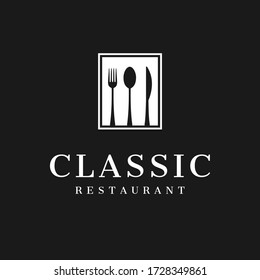 classic restaurant logo concept inspiration with flat design style, vector illustration template