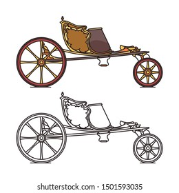 Classic retro carriage or vintage open chariot, wedding dog cart or marriage wagon, medieval calash transport or caleche vehicle. Icon of old phaeton. Cab outline or victorian vehicle contour.