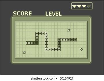 Classic retro snake game asset