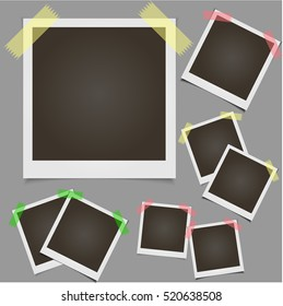 Classic retro style. Set of vector template photo frame with adhesive tape, Isolated on gray background. design for your photography and picture. Vector Illustration