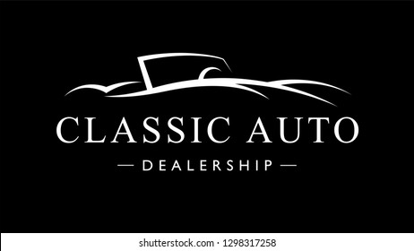 Classic retro style sports car dealership logo. Vintage convertible auto garage vehicle silhouette icon. Vector illustration.