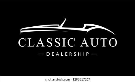 Classic retro style sports car dealership logo. Vintage convertible auto garage vehicle silhouette icon. Vector illustration.