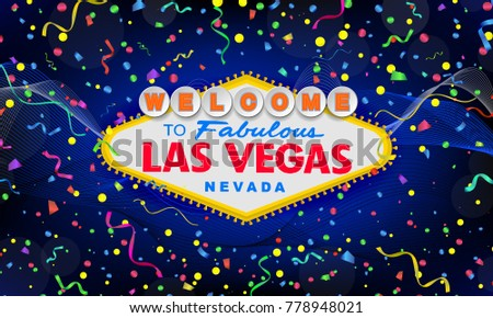 classic retro welcome to las vegas sign on colorful new year background happy new year