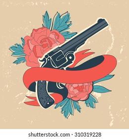 Classic revolvers and roses emblem. vector illustration