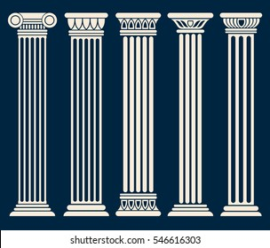 Classic roman, greek architecture columns vector set.