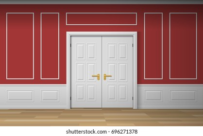 classic room interior with double door wall panels decorative frames