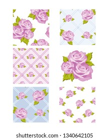 Classic rose seamless background patterns.