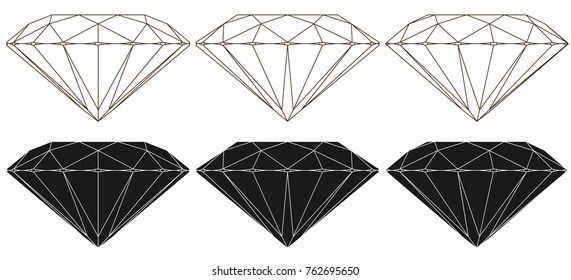 Classic round cut diamond, symbolic  wire side view of various rotation angle, positive, negative, isolated on white background. Vector illustration.