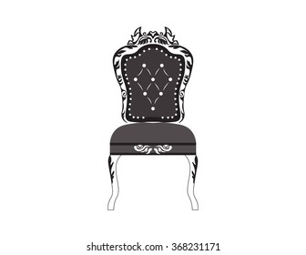 Classic royal armchair with rich ornaments . Vector sketch