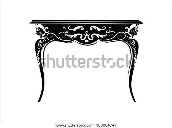 Classic royal ornament table furniture. Vector