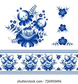 Classic russian ghzel ornament border and floral elements