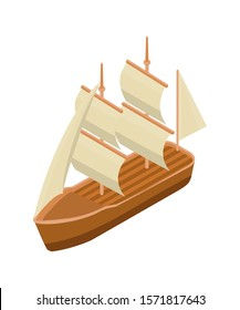 Classic sailing ship isometric vector illustration. Old wooden marine vessel clip art isolated on white background. Sea rover color 3D drawing. Pirate ship icon. Adventure and sea voyage