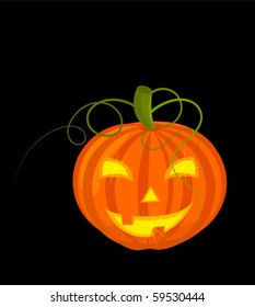 Classic scary halloween pumpkin glowing in darkness. Vector illustration