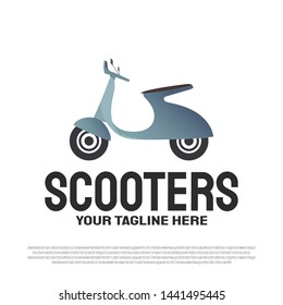 classic scooter with the concept of paper art and red color. vector scooter motorcycle logo. motorcycle club sign or symbol. illustration element
