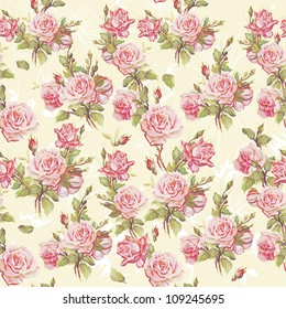 Classic Seamless floral background. Beautiful flower vector illustration. Elegance wallpaper with of pink roses on floral background.