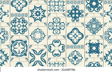 Classic seamless patchwork pattern Moroccan tiles, ornaments for kitchen,  blue STYLE