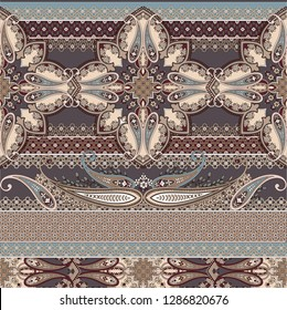 classic seamless patchwork pattern with paisley and ornamental elements