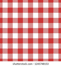 Classic seamless red gingham pattern