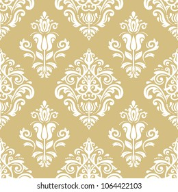 Classic seamless vector golden and white pattern. Damask orient ornament. Classic vintage background. Orient ornament for fabric, wallpaper and packaging