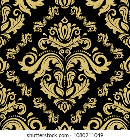 Classic seamless vector pattern. Damask orient ornament. Classic vintage background. Orient golden ornament for fabric, wallpaper and packaging