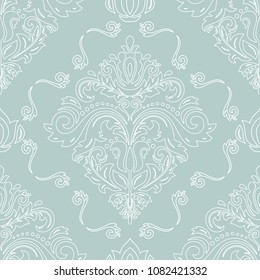 Classic seamless vector pattern. Damask orient ornament. Classic vintage background. Orient light blue and white ornament for fabric, wallpaper and packaging