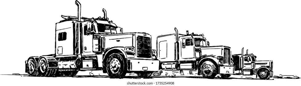 Classic Semi Trucks. Hand Drawn Illustration