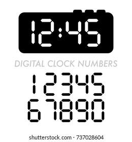 A classic set of digital alarm clock numbers in vector format.