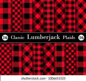 Classic Set Lumberjack Plaid Pattern in Red and Black. Template for Clothing Fabrics. Seamless Vector Pattern.