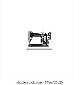 classic sewing  machine logo design image