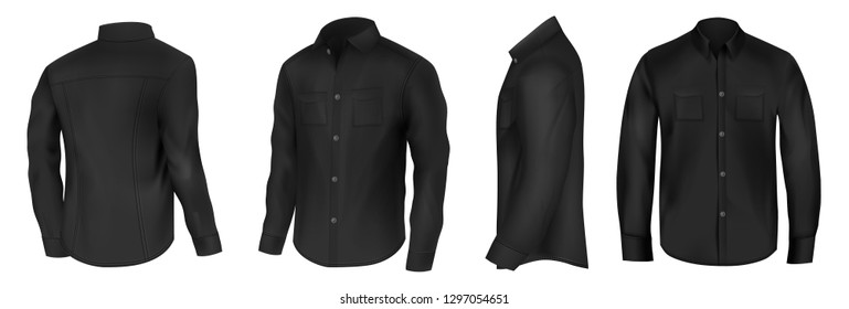 Classic shirt of black silk with long sleeves and pockets on chest in half turn front, side and back view 3d realistic vector mockup set. Mens casual clothing illustration isolated on white background