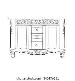 Classic sideboard furniture with royal luxury ornaments and drawers. Vector