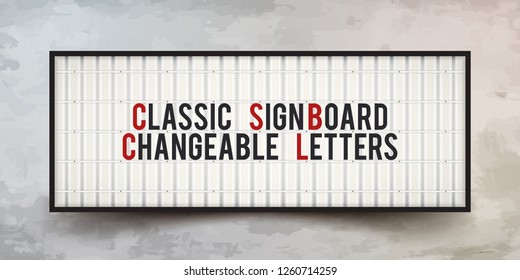 Classic sign board with Changeable Letters. Retro banner for your projects or advertising. Light banner, vintage billboard or bright signboard. Cinema or theater light box frame for ads.