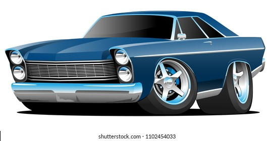 Classic Sixties Style Big American Muscle Car Cartoon Vector Illustration
