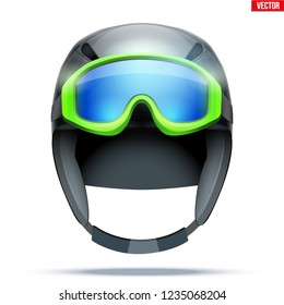 Classic Ski helmet with goggles. Front view. Winter mountain vacation. Vector isolated on white background