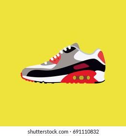 Classic sneakers vector illustration. Original shoes