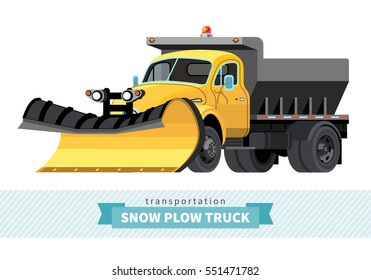 Classic snow removal truck front side view. Vector isolated illustration
